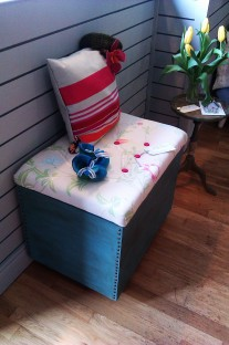 Blanket box with antique studs; Upholstered in Laura Ashley fabrics